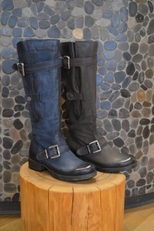 Mjus Tall Boots in Blue and Dark Brown