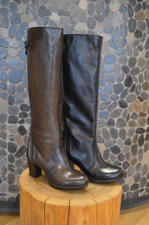Mjus Tall Boots with Back Zip in Brown and Black