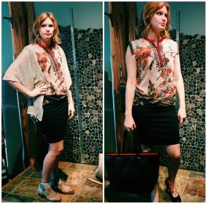 Shirt: Desigual, Cardigan: Mystree, Skirt: Lisette, Boots (L): Mjus, Pumps (R): Clarks, Bag (R): Desigual