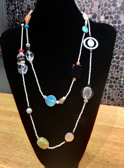 Necklace moonstone, agate, ceramic, glass, magnesite, Beads by Gosh