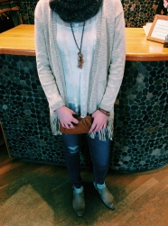 Cardigan: 10 Feet, Necklace: Beads by Gosh, Jeans: AG, Shoes: MJUS, Clutch: Aunts and Uncles